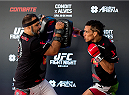 GOIANIA, BRAZIL - MAY 28: Featherweight Charles Oliveira of Brazil holds an open training session for media at Flex Alphaville Gym on May 28, 2015 in Goiania, Brazil. (Photo by Buda Mendes/Zuffa LLC/Zuffa LLC via Getty Images)