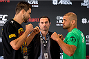 GOIANIA, BRAZIL - MAY 28: UFC welterweight fighters Carlos Condit  (L) of the United States and Thiago Alves of Brazil face off during an open training session for media at Flex Alphaville Gym on May 28, 2015 in Goiania, Brazil. (Photo by Buda Mendes/Zuffa LLC/Zuffa LLC via Getty Images)