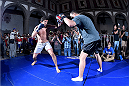 MEXICO CITY, MEXICO - JUNE 10:  Gilbert Melendez holds an open training session during the UFC 188 open workouts at the Interactive Museum of Economics on June 10, 2015 in Mexico City, Mexico. (Photo by Jeff Bottari/Zuffa LLC/Zuffa LLC via Getty Images)