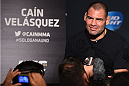 MEXICO CITY, MEXICO - JUNE 11:  UFC heavyweight champion Cain Velasquez of the United States interacts with the media during the UFC 188 Ultimate Media Day at the Hyatt Hotel on June 11, 2015 in Mexico City, Mexico. (Photo by Jeff Bottari/Zuffa LLC/Zuffa LLC via Getty Images)