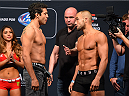 MEXICO CITY, MEXICO - JUNE 12:  (L-R) Gilbert Melendez of the United States and Eddie Alvarez of the United States face off during the UFC 188 weigh-in inside the Arena Ciudad de Mexico on June 12, 2015 in Mexico City, Mexico. (Photo by Josh Hedges/Zuffa LLC/Zuffa LLC via Getty Images)