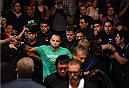 MEXICO CITY, MEXICO - JUNE 13:  Eddie Alvarez of the United States prepares to enter the Octagon before facing Gilbert Melendez of the United States in their lightweight bout during the UFC 188 event at the Arena Ciudad de Mexico on June 13, 2015 in Mexico City, Mexico. (Photo by Josh Hedges/Zuffa LLC/Zuffa LLC via Getty Images)