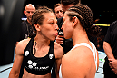 BERLIN, GERMANY - JUNE 20:  (L-R) Joanna Jedrzejczyk of Poland and Jessica Penne of the United States face off before their women's strawweight championship bout during the UFC Fight Night event at the O2 World on June 20, 2015 in Berlin, Germany. (Photo by Josh Hedges/Zuffa LLC/Zuffa LLC via Getty Images)