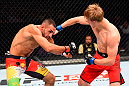 BERLIN, GERMANY - JUNE 20:  (R-L) Arnold Allen of England punches Alan Omer of Iraq in their featherweight bout during the UFC Fight Night event at the O2 World on June 20, 2015 in Berlin, Germany. (Photo by Josh Hedges/Zuffa LLC/Zuffa LLC via Getty Images)