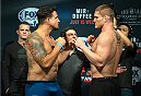SAN DIEGO, CA - JULY 14:  (L-R) Frank Mir and Todd Duffee face-off during the UFC weigh-in at the Valley View Casino Center on July 14, 2015 in San Diego, California. (Photo by Jeff Bottari/Zuffa LLC/Zuffa LLC via Getty Images)