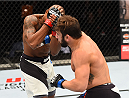 GLASGOW, SCOTLAND - JULY 18:  (R-L) Jimmie Rivera of the United States punches Marcus Brimage of the United States in their bantamweight fight during the UFC Fight Night event inside the SSE Hydro on July 18, 2015 in Glasgow, Scotland.  (Photo by Josh Hedges/Zuffa LLC/Zuffa LLC via Getty Images)