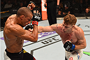 CHICAGO, IL - JULY 25:   (R-L) Paul Felder punches Edson Barboza of Brazil in their lightweight bout during the UFC event at the United Center on July 25, 2015 in Chicago, Illinois. (Photo by Jeff Bottari/Zuffa LLC/Zuffa LLC via Getty Images)