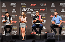 RIO DE JANEIRO, BRAZIL - JULY 31:  (L-R) UFC featherweight champion Jose Aldo, UFC heavyweight champion Fabricio Werdum, and UFC lightweight champion Rafael Dos Anjos speak to the media during the UFC 190 weigh-in inside HSBC Arena on July 31, 2015 in Rio de Janeiro, Brazil.  (Photo by Josh Hedges/Zuffa LLC/Zuffa LLC via Getty Images)