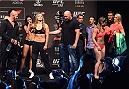 RIO DE JANEIRO, BRAZIL - JULY 31:  UFC strawweight champion Ronda Rousey and Bethe Correia face off during the UFC 190 weigh-in inside HSBC Arena on July 31, 2015 in Rio de Janeiro, Brazil.  (Photo by Josh Hedges/Zuffa LLC/Zuffa LLC via Getty Images)