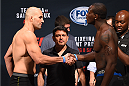 NASHVILLE, TN - AUGUST 07:  (L-R) Opponents Glover Teixeira of Brazil and Ovince Saint Preux face off during the UFC weigh-in at Bridgestone Arena on August 7, 2015 in Nashville, Tennessee.  (Photo by Josh Hedges/Zuffa LLC/Zuffa LLC via Getty Images)