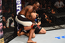 NASHVILLE, TN - AUGUST 08:  (L-R) Ovince Saint Preux controls the body of Glover Teixeira of Brazil in their light heavyweight bout during the UFC Fight Night event at Bridgestone Arena on August 8, 2015 in Nashville, Tennessee.  (Photo by Josh Hedges/Zuffa LLC/Zuffa LLC via Getty Images)