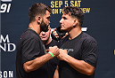 LAS VEGAS, NV - SEPTEMBER 04:  (L-R) Andre Arlovski and Frank Mir face off during the UFC 191 weigh-in inside MGM Grand Garden Arena on September 4, 2015 in Las Vegas, Nevada.  (Photo by Josh Hedges/Zuffa LLC/Zuffa LLC via Getty Images)