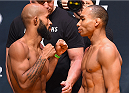 LAS VEGAS, NV - SEPTEMBER 04:  (L-R) UFC flyweight champion Demetrious Johnson and John Dodson face off during the UFC 191 weigh-in inside MGM Grand Garden Arena on September 4, 2015 in Las Vegas, Nevada.  (Photo by Josh Hedges/Zuffa LLC/Zuffa LLC via Getty Images)