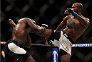 LAS VEGAS, NV - SEPTEMBER 05: (R-L) Jimi Manuwa kicks Anthony Johnson in their light heavyweight bout during the UFC 191 event inside MGM Grand Garden Arena on September 5, 2015 in Las Vegas, Nevada.  (Photo by Jeff Bottari/Zuffa LLC/Zuffa LLC via Getty Images) *** Local Caption *** Anthony Johnson; Jimi Manuwa