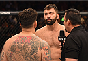 LAS VEGAS, NV - SEPTEMBER 05: (L-R) Frank Mir and Andrei Arlovski face off in their heavyweight bout during the UFC 191 event inside MGM Grand Garden Arena on September 5, 2015 in Las Vegas, Nevada.  (Photo by Josh Hedges/Zuffa LLC/Zuffa LLC via Getty Images) *** Local Caption *** Andrei Arlovski; Frank Mir