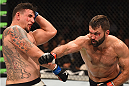 LAS VEGAS, NV - SEPTEMBER 05: (R-L) Andrei Arlovski punches Frank Mir in their heavyweight bout during the UFC 191 event inside MGM Grand Garden Arena on September 5, 2015 in Las Vegas, Nevada.  (Photo by Josh Hedges/Zuffa LLC/Zuffa LLC via Getty Images) *** Local Caption *** Andrei Arlovski; Frank Mir
