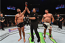 LAS VEGAS, NV - SEPTEMBER 05: Andrei Arlovski (left) reacts to his victory over Frank Mir (right) in their heavyweight bout during the UFC 191 event inside MGM Grand Garden Arena on September 5, 2015 in Las Vegas, Nevada.  (Photo by Josh Hedges/Zuffa LLC/Zuffa LLC via Getty Images) *** Local Caption *** Andrei Arlovski; Frank Mir