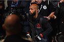 LAS VEGAS, NV - SEPTEMBER 05: Demetrious Johnson walks to the Octagon to face John Dodson in their flyweight championship bout during the UFC 191 event inside MGM Grand Garden Arena on September 5, 2015 in Las Vegas, Nevada.  (Photo by Josh Hedges/Zuffa LLC/Zuffa LLC via Getty Images) *** Local Caption *** Demetrious Johnson