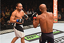 LAS VEGAS, NV - SEPTEMBER 05: (L-R) John Dodson and Demetrious Johnson face off in their flyweight championship bout during the UFC 191 event inside MGM Grand Garden Arena on September 5, 2015 in Las Vegas, Nevada.  (Photo by Josh Hedges/Zuffa LLC/Zuffa LLC via Getty Images) *** Local Caption *** Demetrious Johnson; John Dodson