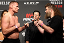 SAITAMA, JAPAN - SEPTEMBER 25: (L and R) Josh Barnett and Roy Nelson during the UFC weigh-in at the Saitama Super Arena on September 25, 2015 in Saitama, Japan. (Photo by Mitch Viquez/Zuffa LLC/Zuffa LLC via Getty Images)