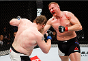 SAITAMA, JAPAN - SEPTEMBER 27:  (From L to R) Roy Nelson of the United States of America and Josh Barnett of the United States of America exchange punches in their heavyweight bout during the UFC event at the Saitama Super Arena on September 27, 2015 in Saitama, Japan. (Photo by Mitch Viquez/Zuffa LLC/Zuffa LLC via Getty Images)