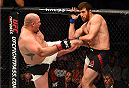 HOUSTON, TX - OCTOBER 03:  (L-R) Shawn Jordan kicks Ruslan Magomedov in their heavyweight bout during the UFC 192 event at the Toyota Center on October 3, 2015 in Houston, Texas. (Photo by Josh Hedges/Zuffa LLC/Zuffa LLC via Getty Images)