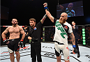 DUBLIN, IRELAND - OCTOBER 24:  (R-L) Garreth McLellan celebrates his victory over Bubba Bush in their middleweight fight during the UFC event at 3Arena on October 24, 2015 in Dublin, Ireland. (Photo by Josh Hedges/Zuffa LLC/Zuffa LLC via Getty Images)