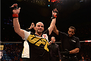 SAO PAULO, BRAZIL - NOVEMBER 07:  Glover Teixeira of Brazil celebrates victory over Patrick Cummins of the United States in their light heavyweight bout during the UFC Fight Night Belfort v Henderson at Ibirapuera Gymnasium on November 7, 2015 in Sao Paulo, Brazil.  (Photo by Buda Mendes/Zuffa LLC/Zuffa LLC via Getty Images)
