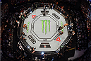 MELBOURNE, AUSTRALIA - NOVEMBER 15:  An overhead view of the Octagon as Mark Hunt and Antonio 'Bigfoot' Silva prepare to face off in a heavyweight bout during the UFC 193 event at Etihad Stadium on November 15, 2015 in Melbourne, Australia.  (Photo by Josh Hedges/Zuffa LLC/Zuffa LLC via Getty Images)