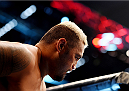 MELBOURNE, AUSTRALIA - NOVEMBER 15: Mark Hunt is seen in the Octagon during his heavyweight bout agaisnt Antonio Silva during the UFC 193 event at Etihad Stadium on November 15, 2015 in Melbourne, Australia.  (Photo by Josh Hedges/Zuffa LLC/Zuffa LLC via Getty Images)