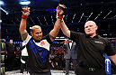 MELBOURNE, AUSTRALIA - NOVEMBER 15:  Mark Hunt celebrates his win by TKO (punches) over Antonio Silva (not pictured) in their heavyweight bout during the UFC 193 event at Etihad Stadium on November 15, 2015 in Melbourne, Australia.  (Photo by Josh Hedges/Zuffa LLC/Zuffa LLC via Getty Images)