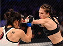 MELBOURNE, AUSTRALIA - NOVEMBER 15:  Joanna Jedrzejczyk (R) throws a punch against Valerie Letourneau (L) in their UFC women's strawweight championship bout during the UFC 193 event at Etihad Stadium on November 15, 2015 in Melbourne, Australia.  (Photo by Josh Hedges/Zuffa LLC/Zuffa LLC via Getty Images)
