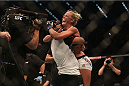 MELBOURNE, AUSTRALIA - NOVEMBER 15:  Holly Holm of the United States celebrates victory over Ronda Rousey of the United States in their UFC women's bantamweight championship bout during the UFC 193 event at Etihad Stadium on November 15, 2015 in Melbourne, Australia.  (Photo by Pat Scala /Zuffa LLC/Zuffa LLC via Getty Images)