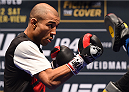 LAS VEGAS, NV - DECEMBER 10:   Jose Aldo of Brazil works out for fans and media during the UFC 194 open workouts inside MGM Grand Garden Arena on December 10, 2015 in Las Vegas, Nevada.  (Photo by Josh Hedges/Zuffa LLC/Zuffa LLC via Getty Images)