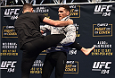 LAS VEGAS, NV - DECEMBER 10:   UFC middleweight champion Chris Weidman works out for fans and media during the UFC 194 open workouts inside MGM Grand Garden Arena on December 10, 2015 in Las Vegas, Nevada.  (Photo by Josh Hedges/Zuffa LLC/Zuffa LLC via Getty Images)