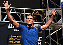 LAS VEGAS, NV - DECEMBER 10:   UFC middleweight champion Chris Weidman waves to the crowd during the UFC 194 open workouts inside MGM Grand Garden Arena on December 10, 2015 in Las Vegas, Nevada.  (Photo by Josh Hedges/Zuffa LLC/Zuffa LLC via Getty Images)