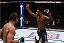 LAS VEGAS, NEVADA - DECEMBER 10:  (R) Aljamain Sterling hypes up the crowd in his bantamweight bout against Johnny Eduardo during the UFC Fight Night event at The Chelsea at the Cosmopolitan of Las Vegas on December 10, 2015 in Las Vegas, Nevada.  (Photo by Jeff Bottari/Zuffa LLC/Zuffa LLC via Getty Images)