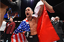 LAS VEGAS, NV - DECEMBER 11: Frankie Edgar reacts to his victory over Chad Mendes in their featherweight bout during the TUF Finale event inside The Chelsea at The Cosmopolitan of Las Vegas on December 11, 2015 in Las Vegas, Nevada.  (Photo by Jeff Bottari/Zuffa LLC/Zuffa LLC via Getty Images) *** Local Caption *** Frankie Edgar