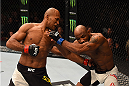 LAS VEGAS, NV - DECEMBER 12: (L-R) Ronaldo 'Jacare' Souza of Brazil punches Yoel Romero of Cuba in their middleweight bout during the UFC 194 event inside MGM Grand Garden Arena on December 12, 2015 in Las Vegas, Nevada.  (Photo by Josh Hedges/Zuffa LLC/Zuffa LLC via Getty Images) *** Local Caption *** Ronaldo Souza; Yoel Romero