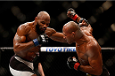 LAS VEGAS, NV - DECEMBER 12: (R-L) Ronaldo 'Jacare' Souza of Brazil punches Yoel Romero of Cuba in their middleweight bout during the UFC 194 event inside MGM Grand Garden Arena on December 12, 2015 in Las Vegas, Nevada.  (Photo by Christian Petersen/Zuffa LLC/Zuffa LLC via Getty Images) *** Local Caption *** Ronaldo Souza; Yoel Romero