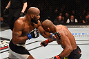 LAS VEGAS, NV - DECEMBER 12: (L-R) Yoel Romero of Cuba punches Ronaldo 'Jacare' Souza of Brazil in their middleweight bout during the UFC 194 event inside MGM Grand Garden Arena on December 12, 2015 in Las Vegas, Nevada.  (Photo by Josh Hedges/Zuffa LLC/Zuffa LLC via Getty Images) *** Local Caption *** Ronaldo Souza; Yoel Romero