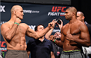ORLANDO, FL - DECEMBER 18:   (L-R) Opponents Junior dos Santos of Brazil and Alistair Overeem of the Netherlands face off during the UFC weigh-in at the Orange County Convention Center on December 18, 2015 in Orlando, Florida. (Photo by Josh Hedges/Zuffa LLC/Zuffa LLC via Getty Images)