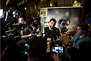 LAS VEGAS, NEVADA - DECEMBER 30:   Carlos Condit speaks to the media at the MGM Grand Hotel/Casino on December 30, 2015 in Las Vegas Nevada. (Photo by Brandon Magnus/Zuffa LLC/Zuffa LLC via Getty Images)