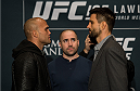 LAS VEGAS, NEVADA - DECEMBER 31:  (L-R) UFC welterweight champion Robbie Lawler and Carlos Condit face off during the Ultimate Media Day at the MGM Grand Hotel/Casino on December 31, 2015 in Las Vegas Nevada. (Photo by Brandon Magnus/Zuffa LLC/Zuffa LLC via Getty Images)