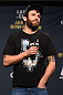 LAS VEGAS, NV - JANUARY 01:    Michael Chiesa interacts with fans during a Q&A session before the UFC 195 weigh-in at the MGM Grand Conference Center on January 1, 2016 in Las Vegas, Nevada. (Photo by Josh Hedges/Zuffa LLC/Zuffa LLC via Getty Images)