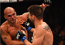 LAS VEGAS, NV - JANUARY 02: (L-R) Robbie Lawler punches Carlos Condit in their UFC welterweight championship bout during the UFC 195 event inside MGM Grand Garden Arena on January 2, 2016 in Las Vegas, Nevada.  (Photo by Josh Hedges/Zuffa LLC/Zuffa LLC via Getty Images)