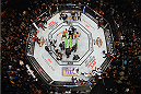 LAS VEGAS, NV - JANUARY 02: An overhead view of the Octagon as Robbie Lawler reacts to his victory over Carlos Condit during the UFC 195 event inside MGM Grand Garden Arena on January 2, 2016 in Las Vegas, Nevada.  (Photo by Josh Hedges/Zuffa LLC/Zuffa LLC via Getty Images)
