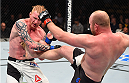 BOSTON, MA - JANUARY 17:  (R-L) Tim Boetsch kicks Ed Herman in their light heavyweight bout during the UFC Fight Night event inside TD Garden on January 17, 2016 in Boston, Massachusetts. (Photo by Jeff Bottari/Zuffa LLC/Zuffa LLC via Getty Images)
