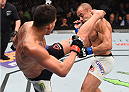 BOSTON, MA - JANUARY 17:  (L-R) Anthony Pettis kicks Eddie Alvarez in their lightweight bout during the UFC Fight Night event inside TD Garden on January 17, 2016 in Boston, Massachusetts. (Photo by Jeff Bottari/Zuffa LLC/Zuffa LLC via Getty Images)
