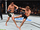 BOSTON, MA - JANUARY 17:  (R-L) TJ Dillashaw kicks the leg of Dominick Cruz in their UFC bantamweight championship bout during the UFC Fight Night event inside TD Garden on January 17, 2016 in Boston, Massachusetts. (Photo by Jeff Bottari/Zuffa LLC/Zuffa LLC via Getty Images)